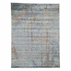 9'x12' Blue Flower Design Wool And Silk Hand-knotted Oriental Rug R46083