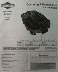 Briggs And Stratton Intek Vertical 110000 120000 Lawn Mower Engine Owners Manual