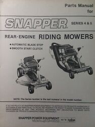 Snapper Rer Series 4 And 5 Rear Engine Riding Lawn Mower Tractor Parts Manual Hi-v