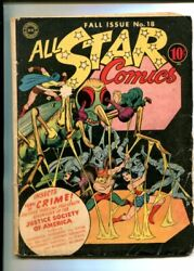 All Star 18-1943-dc-hawkman-wonder Woman-bizarre-insect Cover-vg Minus