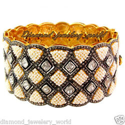Victorian 12.60cts Rose Antique Cut Pearl Studded Silver Bangle Bracelet Jewelry