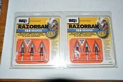 2 PACKAGES OF RAZORBACK FIXED BLADE CUT ON CONTACT 125 GRAIN ARCHERY BROADHEADS