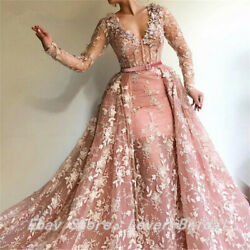 Pink Muslim Long Sleeves Lace Evening Prom Dresses V-Neck Bridesmaid Ball Gowns