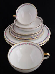 C Ahrenfeldt Depose Limoges Lunch 10 Pc Dinnerware Service For 2 Blue Gold Pink