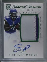 2015 Panini National Treasures Emerald /14 Stefon Diggs Rpa Rookie Patch Auto
