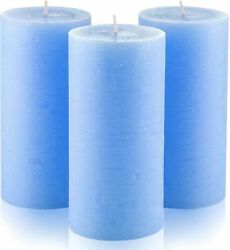 Set Of 3 Light Blue Pillar Candles 3x 6 Unscented For Weddings Home Decoration