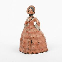 Antique Cast Iron Doorstop Woman In Pink Dress Southern Belle Lady 4.5 Tall
