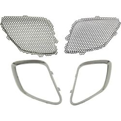 Grille Mesh Inserts And Chrome Trim Upper Front Left Lh And Right Rh For Pontiac G6