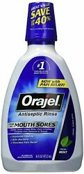 Orajel Antiseptic Rinse for All Mouth Sores, Mint - 16 oz, Pack of 5