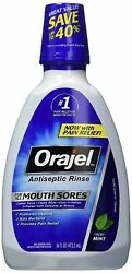 Orajel Antiseptic Rinse for All Mouth Sores, Mint - 16 oz, Pack of 6
