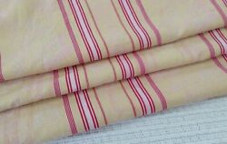 Antique Yellow French Damask Woven Cotton Ticking Fabric Stripe Upholstery Big