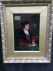 TUDOR OIL ON PANEL DATED 1599 OIL PAINTING AFTER HOLBEIN WATTS FRAME 16TH CENT