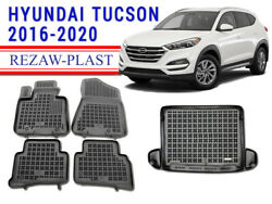Floor Mats For Hyundai Tucson 2016-2021 Suv Rubber Cargo Liner All Weather Mat