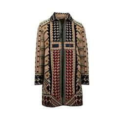 NWT VALENTINO Tan Beaded Wool Blend Embellished Coat Size 4636 $25060