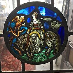 Antique Vintage Stained Glass Painted Casement Window Spanish Leaded Steel