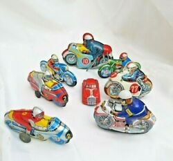 Tin Toys Made In Japan Yone, T.t And Other. Friction Wind Up Bike/car