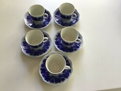 Gefle Vinranka Demitasse Cups And Saucers Some Crazing From Age Inside Cups