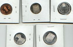 5 Proof Romania Coins, 2 In 2002 And 3 In 2004 Rare Low Mintage