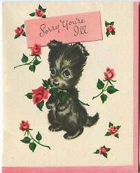 VINTAGE BLACK SCOTTY DOG TERRIER PUPPY PINK RED ROSE CUTE GREETING CARD PRINT