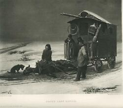 ANTIQUE SNOW WINTER HORSE WAGON SORROW MOURNING SCOTTY TERRIER DOG ART OLD PRINT