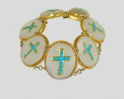 Victorian 18ct Gold Turquoise And Chalcedony Crucifix Bracelet Antique Cross C1880