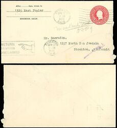 1929 Stockton Ca Local, Hand / Return To Writer Box Auxiliary, Searched No.1