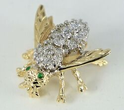 Vintage 14k Yellow Gold Green Emerald White Diamond Insect Bumblebee Pin Brooch