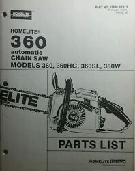 Homelite 360 Chain Saw Parts Manual Chainsaw 360hg 360sl 360w Power Outdoor