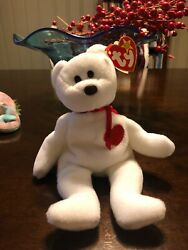 Rare Valentino Beanie Baby Bear/ P.v.c. And Tag Misspellings