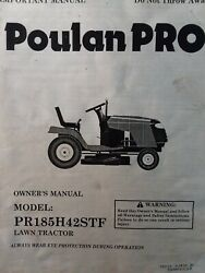 Poulan Riding Lawn Tractor Pr185h42stf Mower And Engine Owner And Parts 2 Manual S