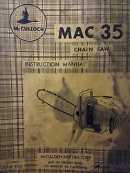 Mcculloch Mac 35 Chain Saw Owner And Parts 2 Manual S Chainsaw Gasoline 1957