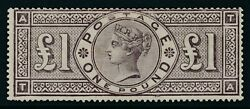 SG 185a £1 brown-lilac T.A frame break. A fine mounted mint example. Very scarce