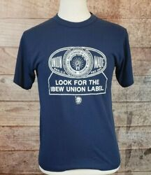 Vtg 70's Look For The Ibew Union Label Electrical Workers 50/50 T-shirt Sz M/l