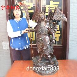 90 cm Chinese pure bronze God of wealth Dragon Guan Gong Guan yu Buddha Statue