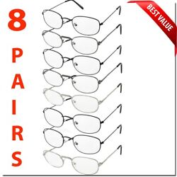 READING GLASSES 8 PACK METAL LOT CLASSIC READER UNISEX MEN WOMEN STYLE BULK LOT $14.95