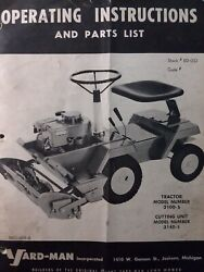 Yard Man 3100-5 Riding Lawn Tractor Mower And Engine Owner And Parts 4 Manual S
