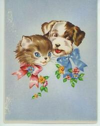 VINTAGE KITTEN CAT TERRIER DOG PUPPY DISTRESSED 1930S CARD ART PRINT Imperfect