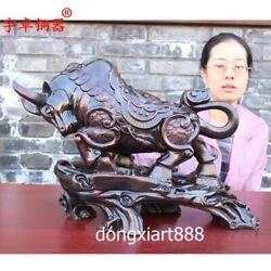 50 Cm Chinese Zodiac Fengshui Animal Iron Painted Ox Oxen Bull Cattle Statue
