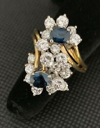 18k Yellow Gold Blue Sapphire Ring With 2.85ctw Diamonds