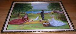 VINTAGE GARDEN LAKE POND SAIL BOAT PICNIC FOOD JACK RUSSELL TERRIER DOG PAINTING