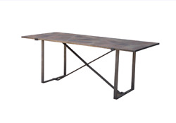 78 L Dining Table Modern Open Base Recycled Cast Iron Weathered Solid Wood Top