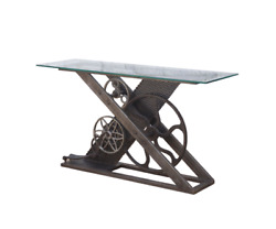 58 L Console Table Recycled Cast Iron Inventors Wheel Base Glass Top Modern