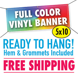 5and039 X 10and039 Custom Vinyl Banner 13oz Full Color - Free Shipping