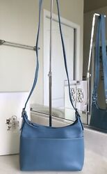 NWT COACH LEGACY SMALL POCKET ZIP PURSE BLUE LEATHER SILVER BAG 9136 $111.20
