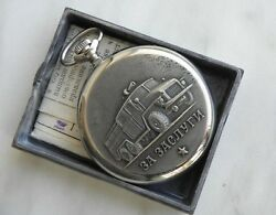 Box And Doc Collectable Soviet Molnija Fire Appliance Engine Pocket Watch Hq-sign