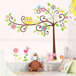 Scroll Owl Tree Wall Decals Removable Kids Nursery Bedroom Decor Vinyl Sticker