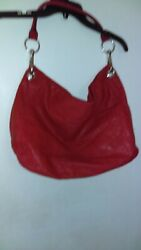 Bueno Hobo Red Leather Bag 12quot; x 18quot; $25.00