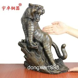 42 Cm Bronze Amulet Counteract Evil Force Chinese Zodiac Animal Tiger Statue