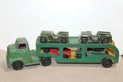 Nice 1950and039s Tootsietoy International Truck Car Carrier Transport With Jeep Load