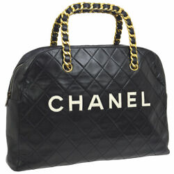 CHANEL Quilted CC Chain Handle Hand Bag Black Leather Vintage Authentic  A43829a